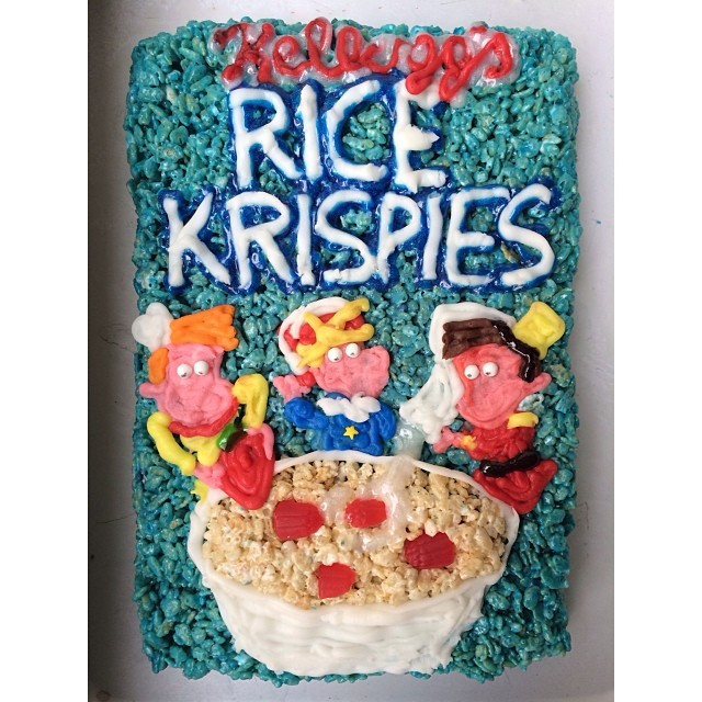 Rice Krispies box done with Rice Krispies