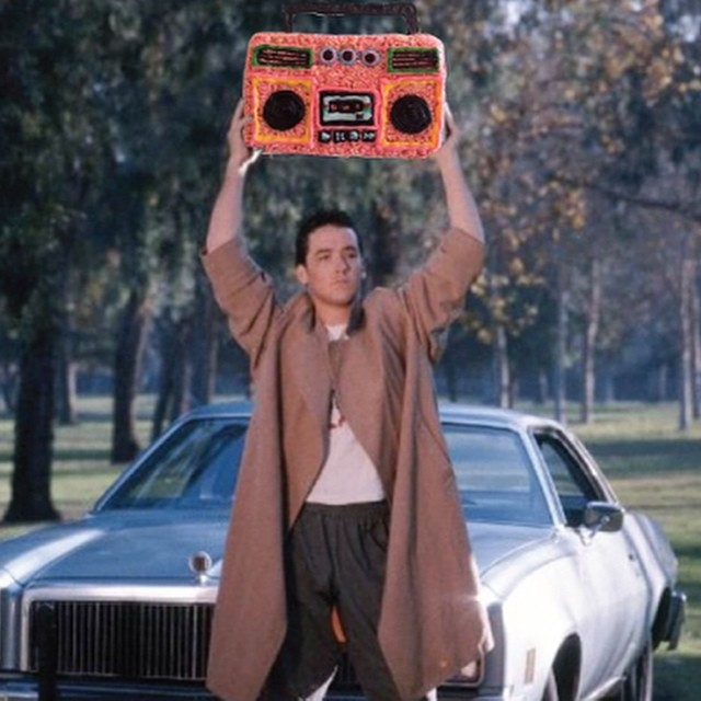 Lloyd Dobler holding Rice Krispies boom box