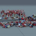 A Hilarious 3D Animation Software Test Featuring a Large Crowd of Tiny People Running Into a Spinning Object