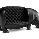 The Hippopotamus Chair, A Massive Black Chair Shaped Like a Life-Sized Adult Male Hippo