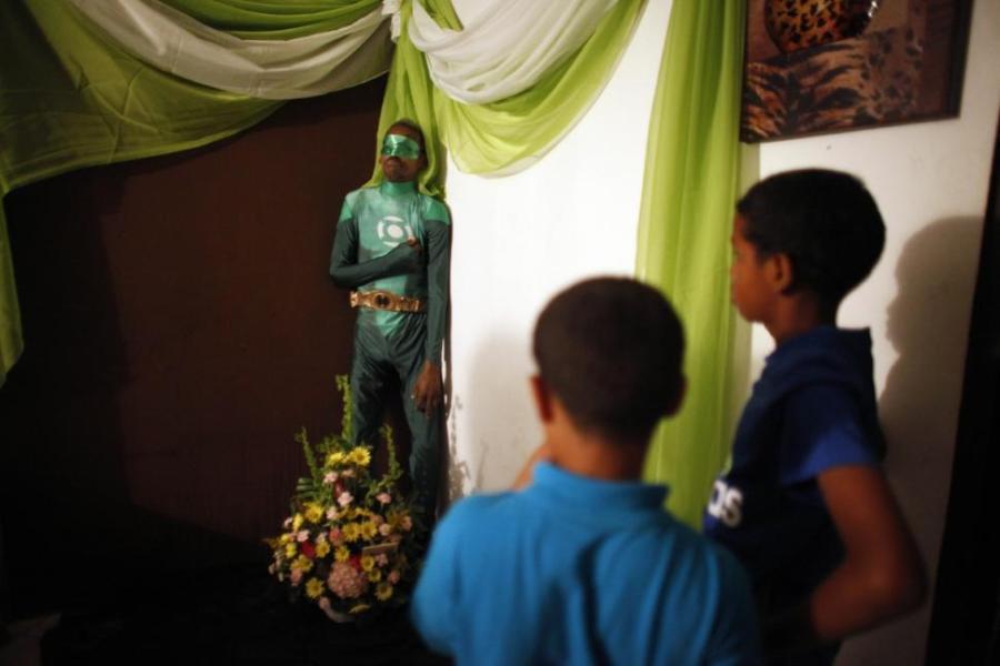 Boys Look On at Standing Green Lantern Wake