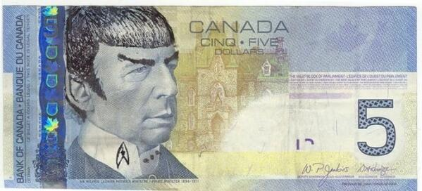 Canadian Spock 5 Dollar Notes