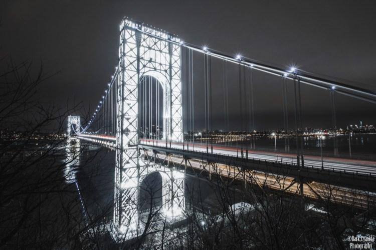 George Washington Bridge Illuminated by Lights