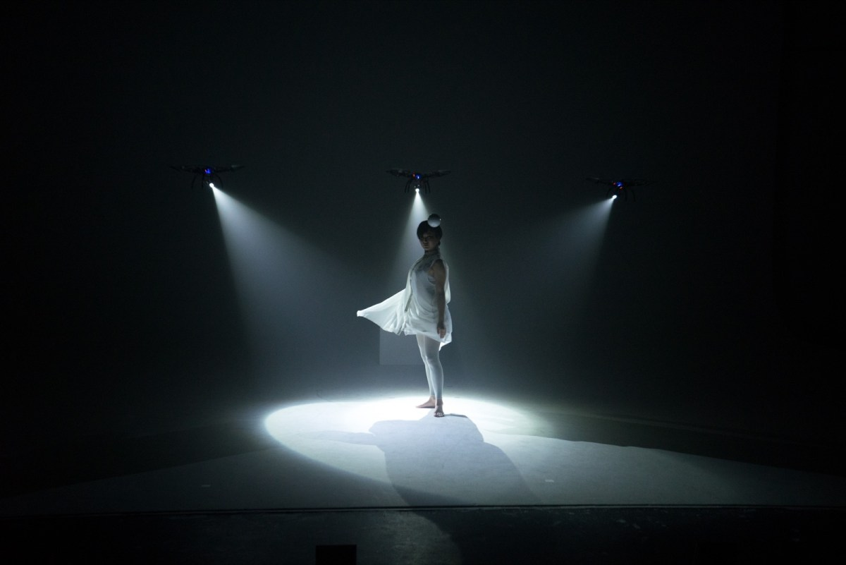 'Shadow', A Solo Dance Performance That Is Illuminated by Three Synchronized Spotlight Drones