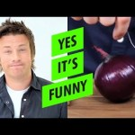 Chef Jamie Oliver Chops Onions With Crystals and a Banana