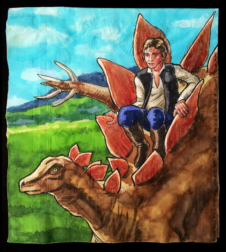 Han Solo on a Stegosaurus