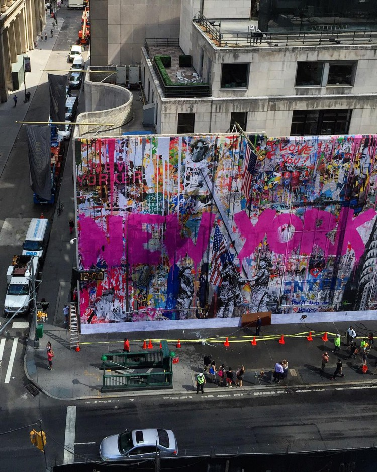 Street artist mr brainwash creates a 9 11 memorial mural for Mural mr brainwash