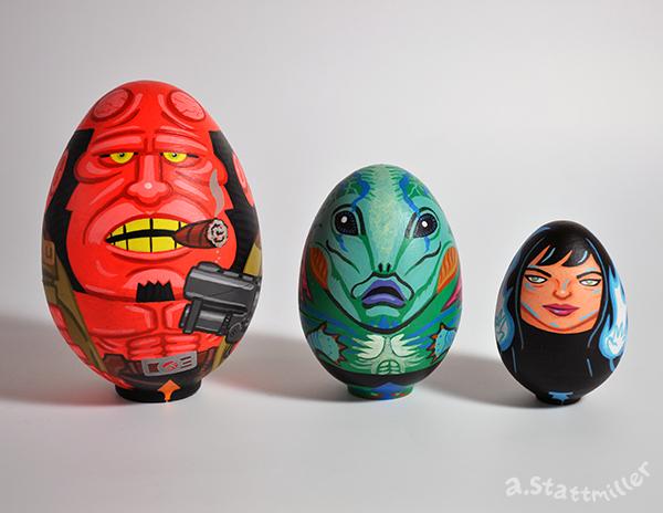 Hellboy Nesting Eggs by Andrew Stattmiller