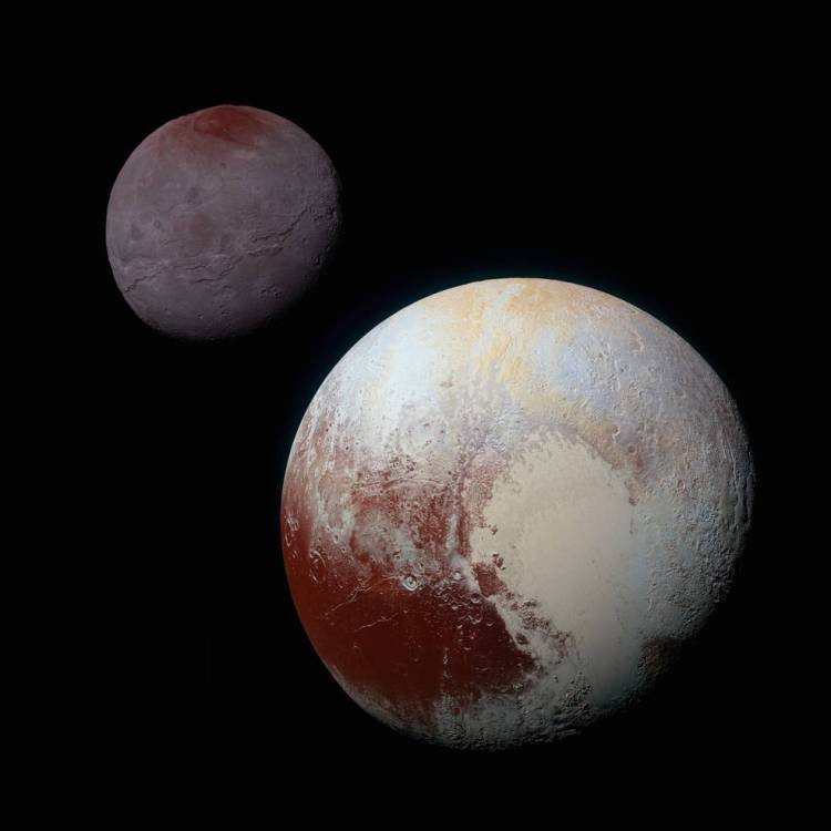 Charon and Pluto Composite Enhanced Color Image