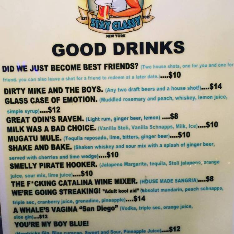 Stay Classy Drink Menu