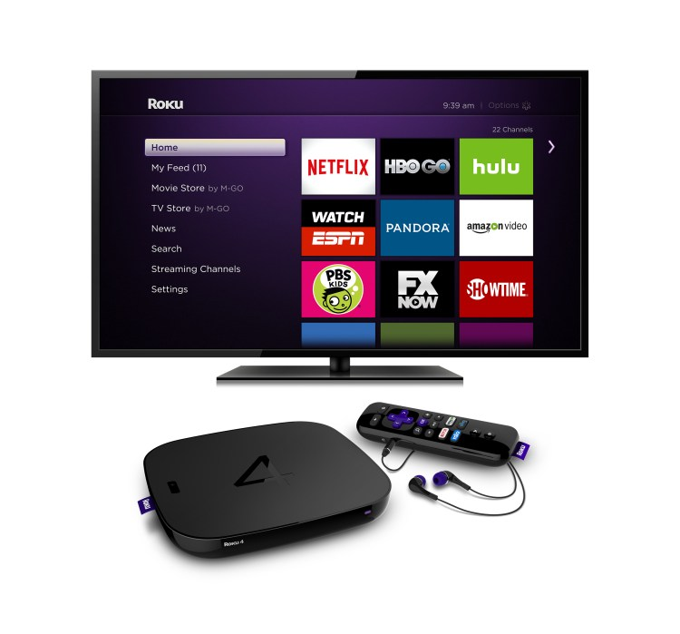 Roku 4 player and television