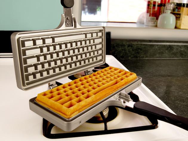 Keyboard Waffle Iron Open