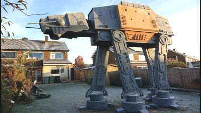 Eccentric Inventor Colin Furze Builds a Gigantic Star Wars AT-ACT Walker Clubhouse