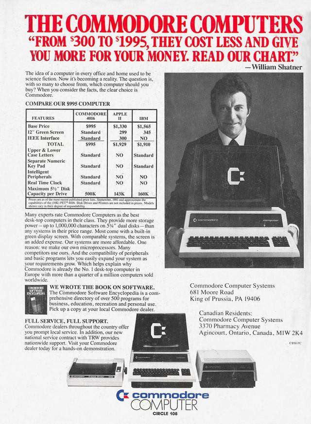 Commodore VIC-20 Ads Featuring William Shatner
