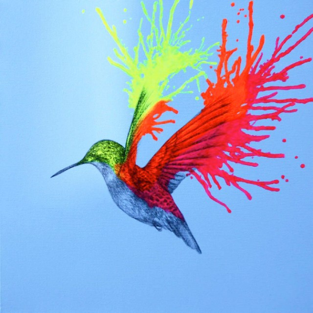 Neon animal art by Louise McNaught