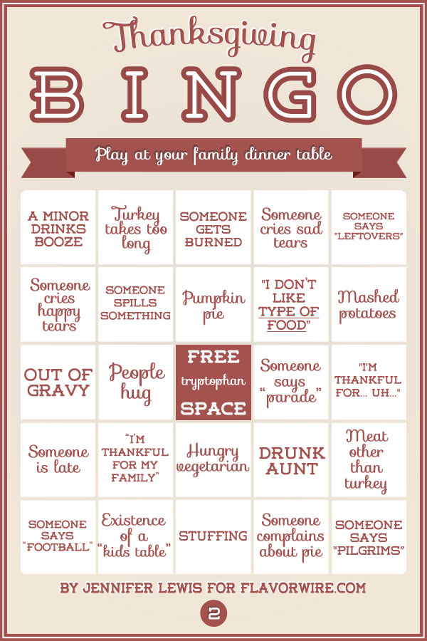 Thanksgiving Bingo Cards to Play With Your Dysfunctional Family