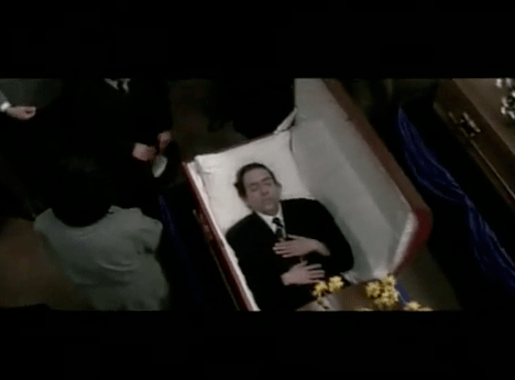 Tin Burton in a Coffin