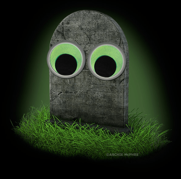 Tombstone with googly eyes