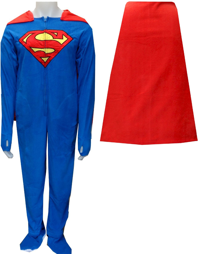 Superman / SuperGirl Fleece Onesie Footie Pajama with Cape