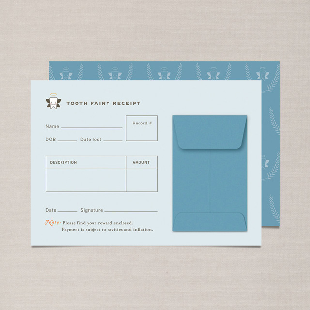 Tooth Fairy Receipt in blue