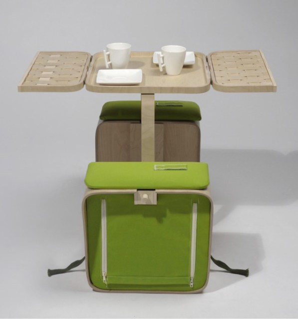 Springtime picnic basket and folding table