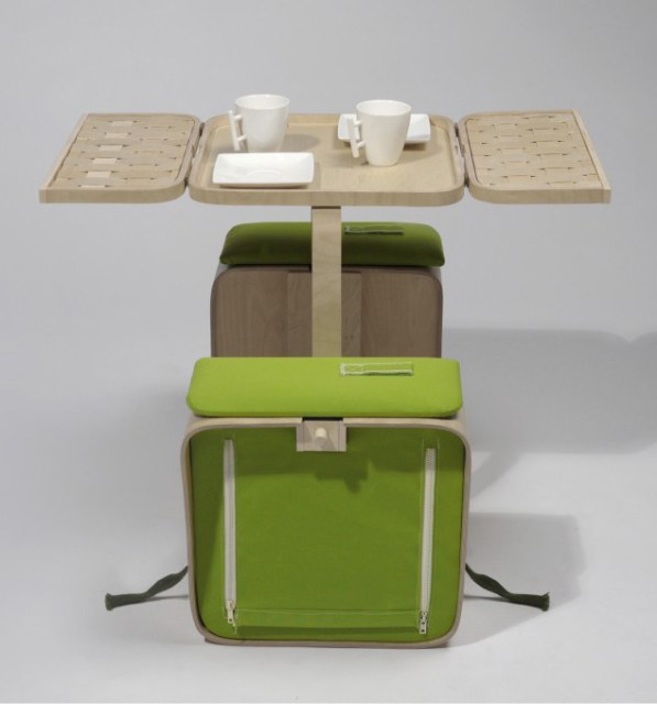 Springtime picnic basket and folding table