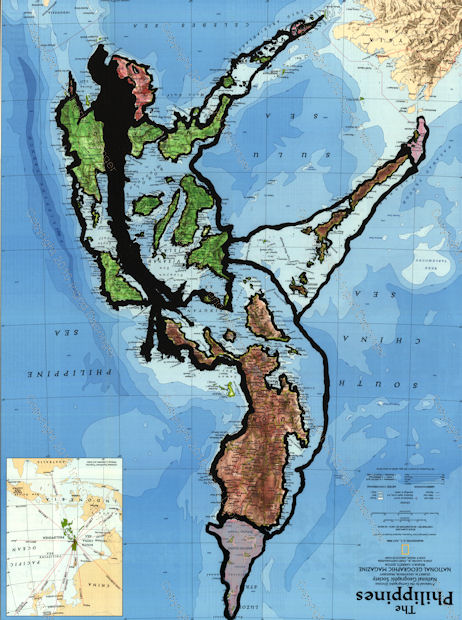 Map figure paintings by Ingrid Dabringer