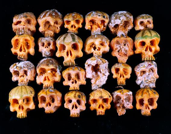 Fruit and vegetable skull sculptures by Dimitri Tsykalov