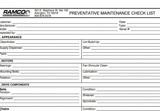 Preventative Maintenance Checklist Laundry Ledger