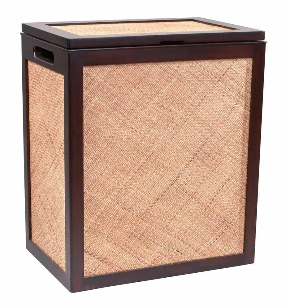 Designer Laundry Hamper Rattan And Mahogany Luxury High End Designer Hamper
