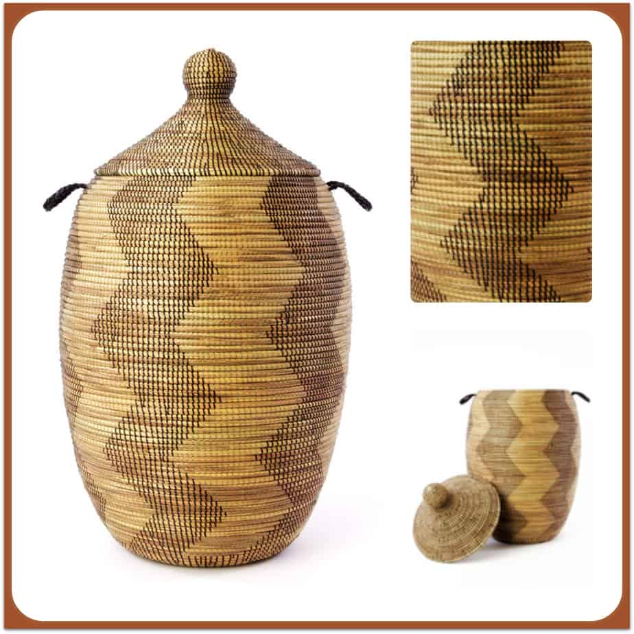 African Woven Hamper African Basket With Lid Extra Large Laundry Shoppe