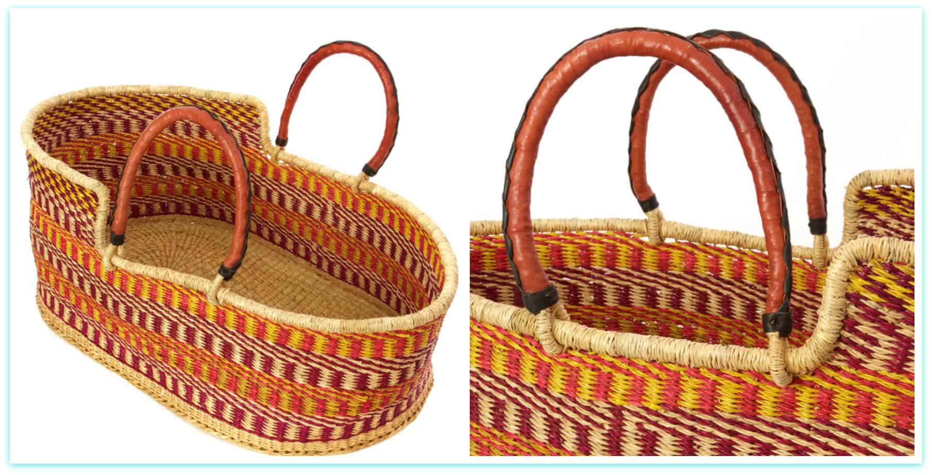 African Woven Hamper Moses Basket Ghana West Africa Laundry Shoppe