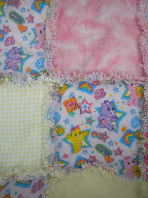 Pink Care Bear Name Halloween Rag Quilt