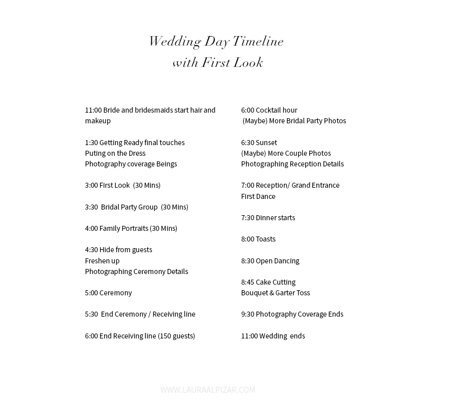 Wedding Day Timeline with First Look - Modern Minneapolis St Paul - wedding timeline