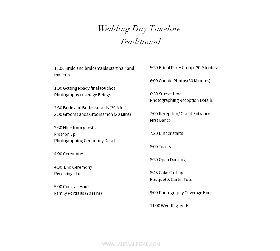 Wedding Day Traditional Timeline - Minneapolis Wedding Photographer - wedding timeline