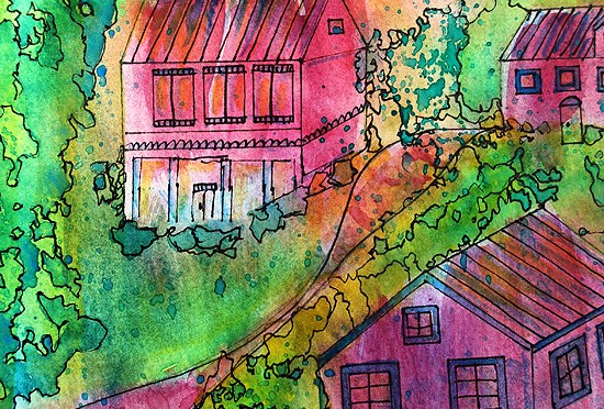 4DREAMY WATERCOLORS VALLEY VILLAGE