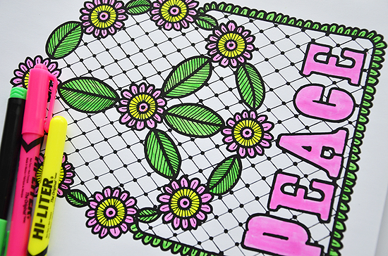 8love peace coloring page
