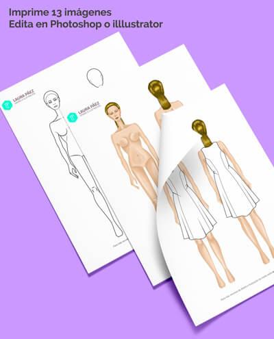 Female Fashion Figure template for print and edit psd or ai
