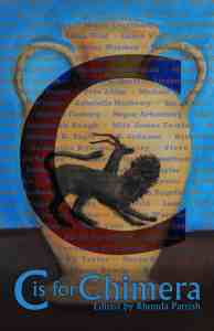 Greek-style chimera art on vase with superimposed C and authors' names