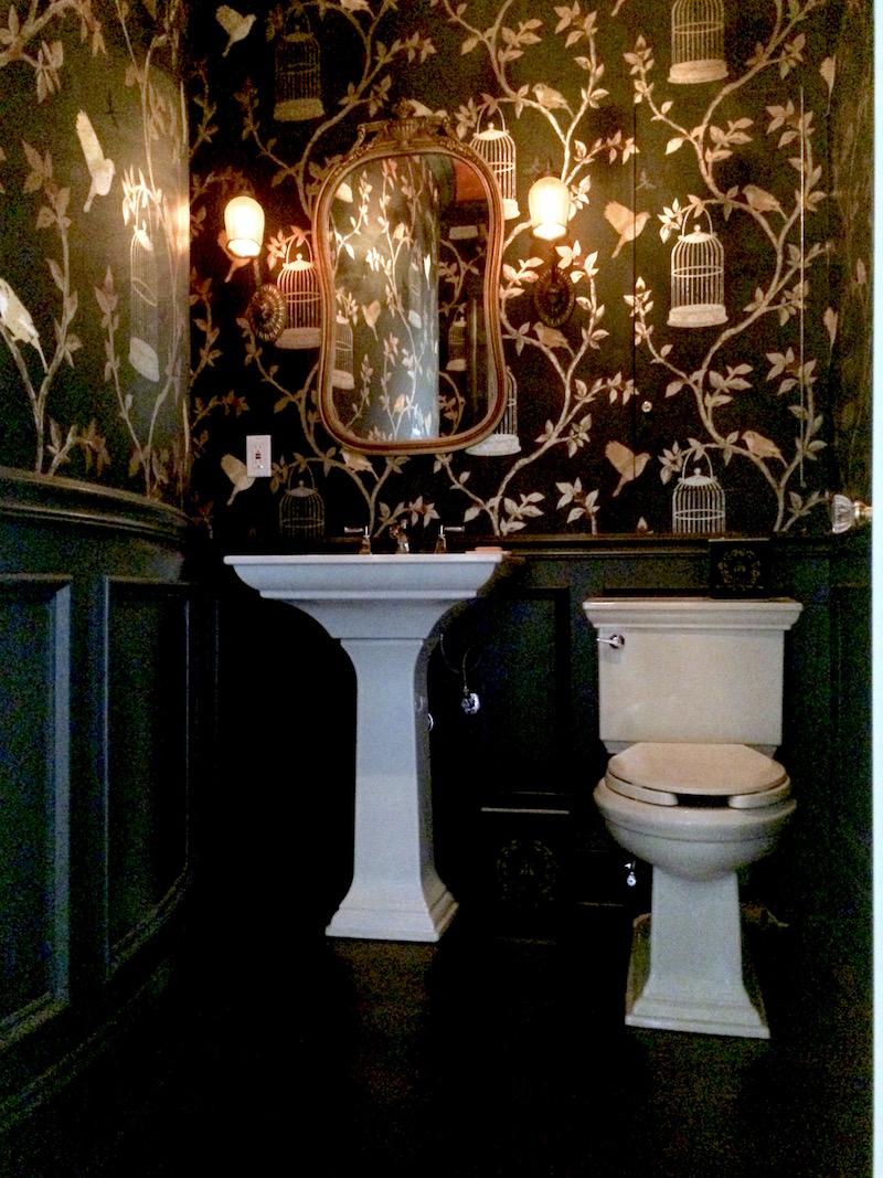 Black And White Floral Wallpaper Mary Black Powder Room Kohler Sink Toilet Laurel Home