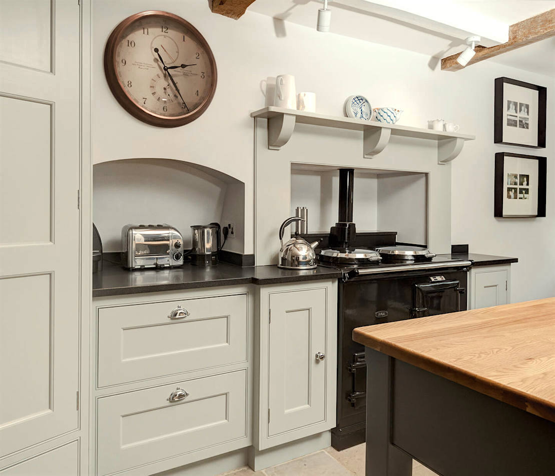 Kitchen painted in Farrow and Ball Shaded White
