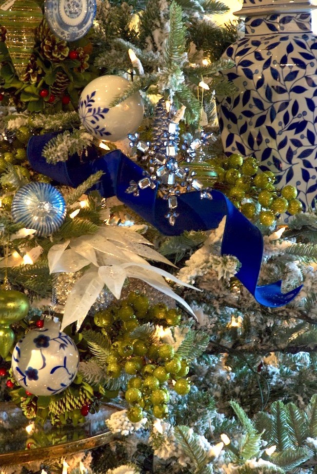 Blue and White Christmas Tree Laurel Home
