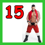 shirtless posing santa and the number 15
