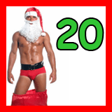 bearded santa with his pants around his knees and the number 20