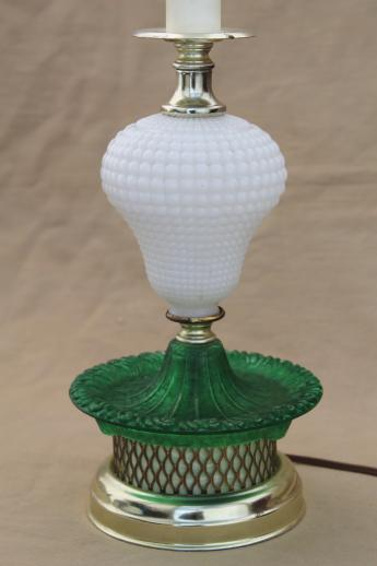 Shabby Chic Shop 1960s Vintage Glass Lamp, Milk Glass Table Lamp W/ Green