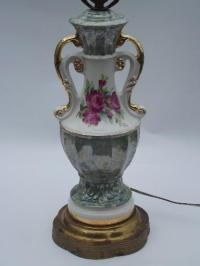 40s vintage ornate double-handled china lamp, green marble ...