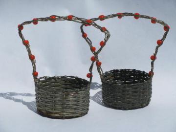 Antique Vintage Baskets Wicker Picnic Baskets Wire