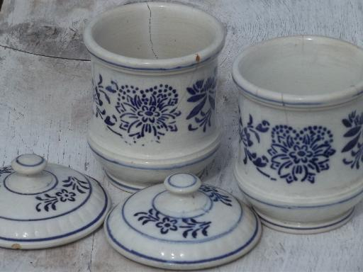 Antique Ginger And Cloves Spice Jar Canisters Blue And