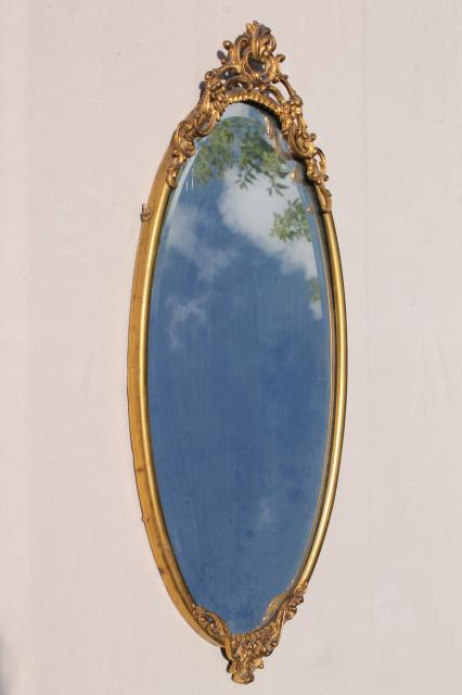 Oval Mirror Silver Frame Antique Vintage Beveled Glass Mirror W Ornate Old Gold