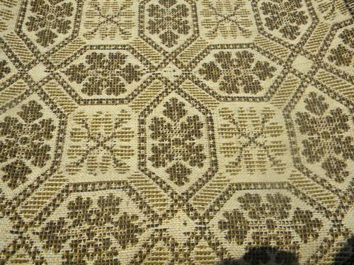 Antique Woven Wool Coverlet Fabric Vintage Pieced Cloth